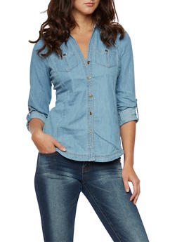 Chambray Button Front Shirt - 3075051060870