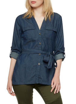 Chambray Button-Up Top with Waist Belt - 3075051060872