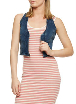 Cropped Denim Zip Vest - 3075051065739