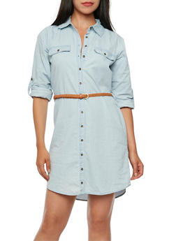 Chambray Shirt Dress with Braided Belt - 3075051068522