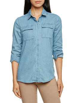 Chambray Shirt with High-Low Hem - 3075051068678