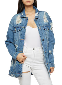 Cello Destroyed Long Sleeve Over Sized Denim Jacket - 3075063151078