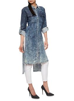Acid Wash Denim High Low Tunic Shirt - 3075063403585