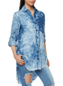 High Low Acid Wash Denim Button Front Shirt - 3075063403999