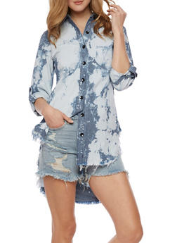 Bleached Denim Button Front High Low Shirt - 3075063404000