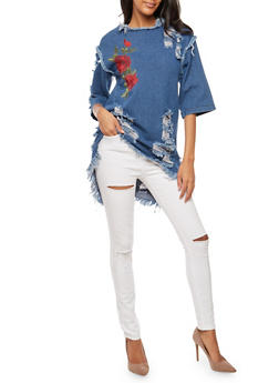 Frayed Floral Embroidered Denim Tunic Top - 3075063405128