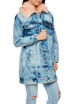 Long Line Acid Wash Denim Jacket with Faux Fur Collar - 3075063405149