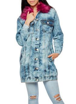 Long Line Acid Wash Denim Jacket with Faux Fur Collar - MAGENTA - 3075063405149