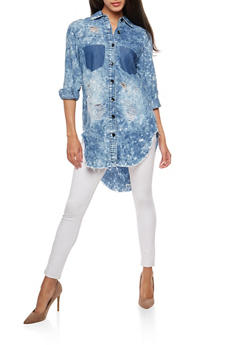 Acid Wash Denim Shirt - 3075063405882