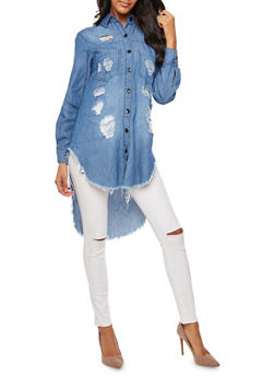 Destroyed Denim High Low Button Front Shirt - 3075063405885