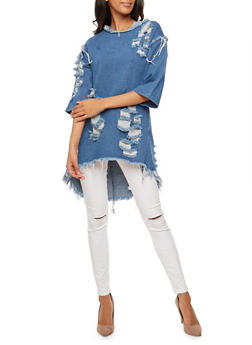 Destroyed Denim Tunic Top - 3075063408128