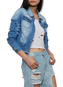 VIP I Love the Weekend Graphic Destroyed Denim Jacket - 3075065308871