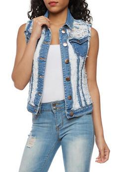 VIP Destroyed Denim Vest with Crochet Underlay - 3075065309072