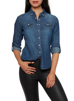 Highway Jeans Button Up Top in Denim - 3075071310891