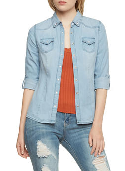 Highway Jeans Button Up Shirt in Denim - 3075071310981