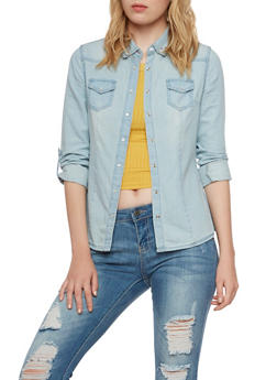 Chambray Shirt with Snap Front - 3075071317982