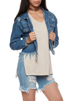 Highway Jeans Frayed Cropped Denim Jacket - MEDIUM WASH - 3075071317985