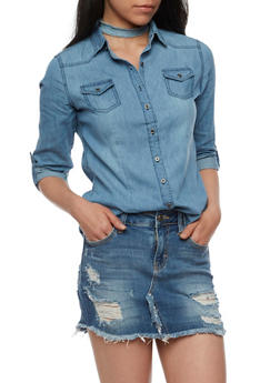 Long Sleeve Button Front Denim Top - 3075071318191