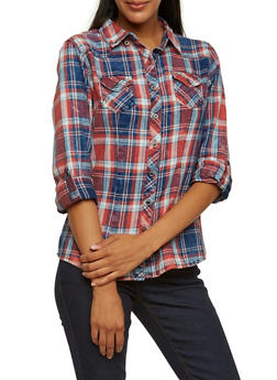Highway Jeans Button-Down Plaid Shirt with Faded Print - 3075071319180