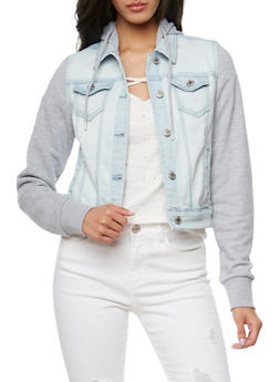 WAX Knit Hooded Long Sleeve Jean Jacket - LIGHT WASH - 3075071610047