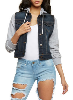 WAX Knit Hooded Long Sleeve Jean Jacket - 3075071610047