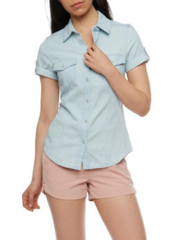 Denim Button Front Short Sleeve Top - 3075071619034