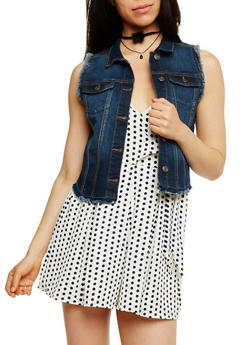 Wax Jean High Low Denim Vest with Frayed Trim - 3075071619073