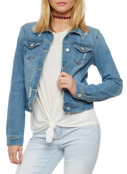 Wax Button Front Distressed Denim Jacket - 3075071619168