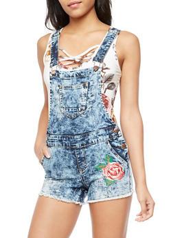 Rose Embroidered Denim Short Overalls - ANTIQUE DENIM - 3076065300225