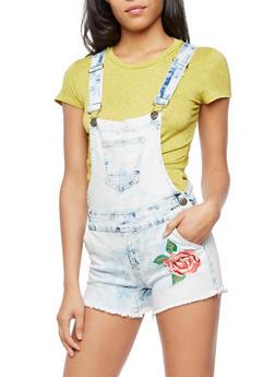 Rose Embroidered Denim Shortalls - 3076065300225
