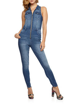 Sleeveless Zip Denim Jumpsuit - 3078015998775