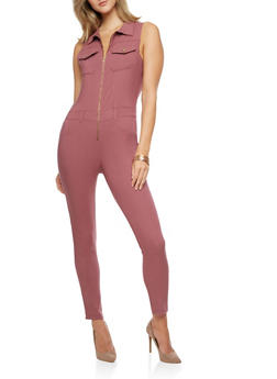 Sleeveless Zip Front Jumpsuit - 3078056571584