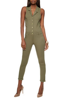 Soft Knit Collared Button Front Jumpsuit - OLIVE - 3078056574016