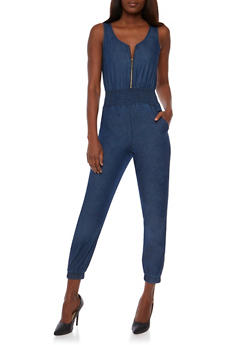 Smocked Mid Zip Denim Jumpsuit - 3078062709824