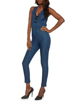 Denim Sleeveless Lace Up Jumpsuit - 3078062709919