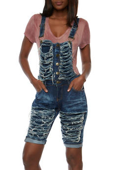 Ripped Button Front Bermuda Shortalls - 3078063404162