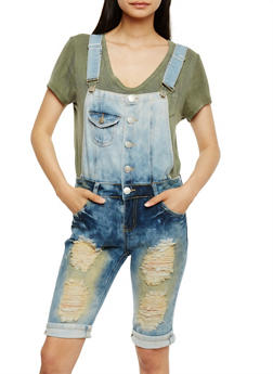 Acid Wash Destroyed Bermuda Shortalls - 3078063404163