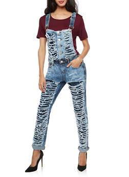 Two Toned Slashed Denim Overalls - 3078063405163