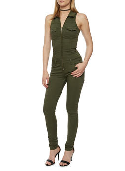 VIP Jeans Sleeveless Zip Front Jumpsuit - OLIVE - 3078065301665