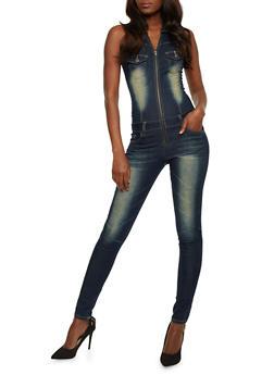 VIP Jeans Sleeveless Zip Front Jumpsuit - BLACK/BLUE - 3078065301665