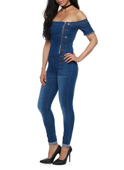 VIP Off the Shoulder Denim Jumpsuit - 3078065302955