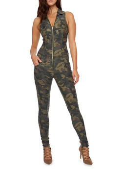 Sleeveless Jumpsuit with Zip Front - CAMOUFLAGE - 3078065305266