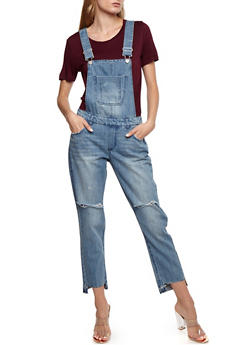 Denim Frayed Step Hem Overalls - 3078071312738