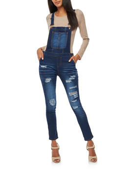 Destroyed Whisker Wash Denim Overalls - 3078072292961