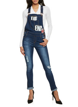 Distressed Denim Overalls with The End Graphic - 3078072293200