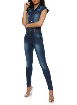 Button Front Denim Jumpsuit - 3078072293333