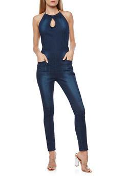 Dark Wash Halter Neck Denim Jumpsuit - 3078072294141