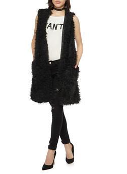 Long Vest in Faux Fur - BLACK - 3084038347003