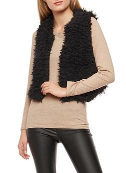 Cropped Faux Fur Vest - 3084038348080