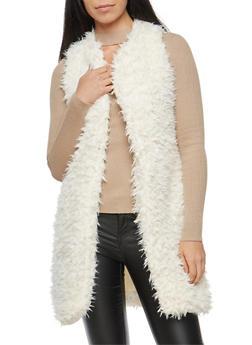 Long Line Faux Fur Vest - IVORY - 3084038348082